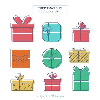 Colección colorida de cajas de regalos de navidad