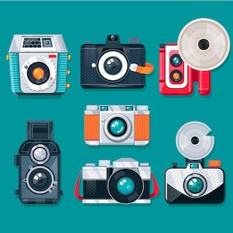 Colección colorida de cámaras vintage con diseño plano