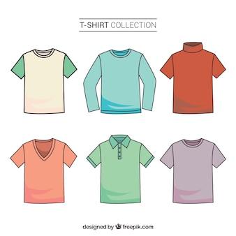 Colección colorida de camisetas en 2d con estilo de dibujo a mano