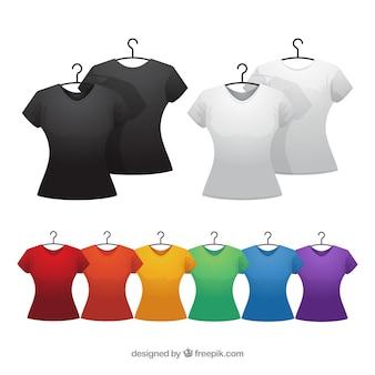 Colección colorida de camisetas de mujer en 2d