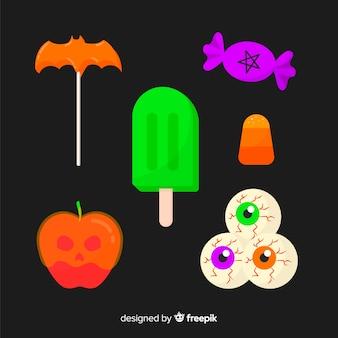 Colección colorida de caramelos de halloween con diseño plano