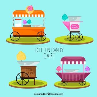 Colección colorida de carros de algodón de azúcar