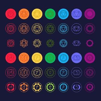Colección colorida de chakras