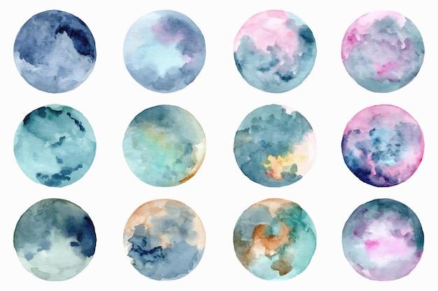 Colección colorida de círculos abstractos con acuarela