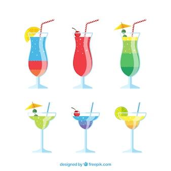 Colección colorida de cócteles con diseño plano