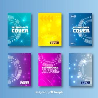 Colección colorida de covers de tecnología