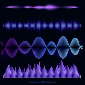 Colección colorida de cuatro ondas sonoras abstractas