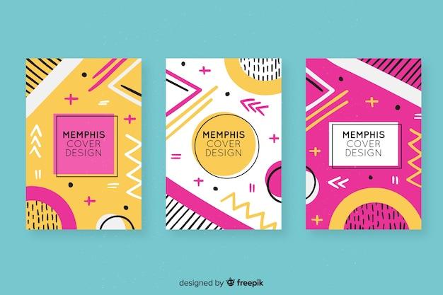 Colección colorida de cubiertas de memphis