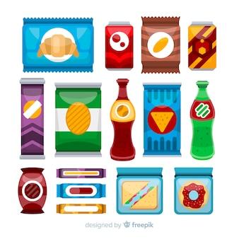 Colección colorida de aperitivos con diseño plano