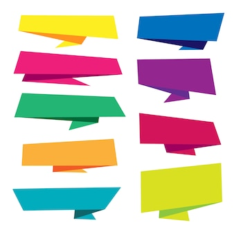 Colección colorida de banners origami