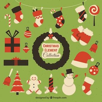 Colección colorida de elementos de navidad