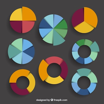 Colección colorida de los gráficos circulares