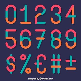 Colección colorida de números con diseño plano