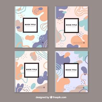 Colección colorida de portadas con figuras de burbujas