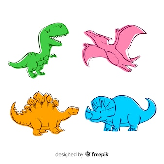 Colección colorida de dinosaurios dibujados a mano