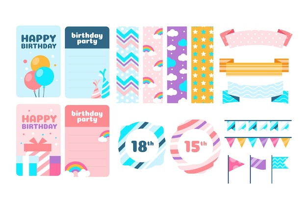 Colección colorida de elementos de álbum de recortes de cumpleaños