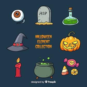 Colección colorida de elementos de halloween dibujados a mano