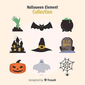 Colección colorida de elementos de halloween con diseño plano