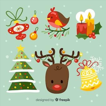 Colección colorida de elementos de navidad con diseño plano