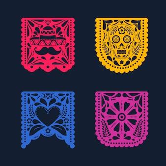Colección colorida del empavesado mexicano
