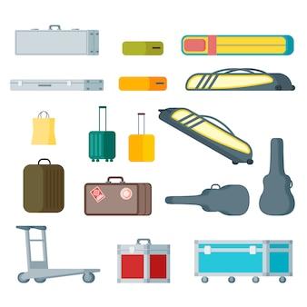 Colección colorida de equipaje