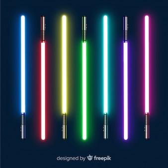 Colección colorida de espadas láser