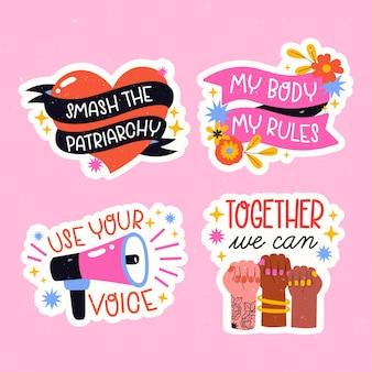 Colección colorida de etiquetas para el día de la mujer