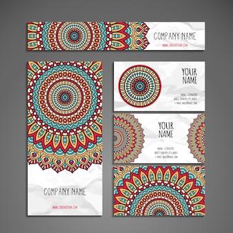 Colección colorida étnica de papelería en estilo de mandala