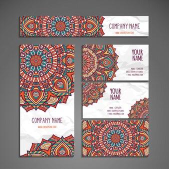 Colección colorida étnica de papelería