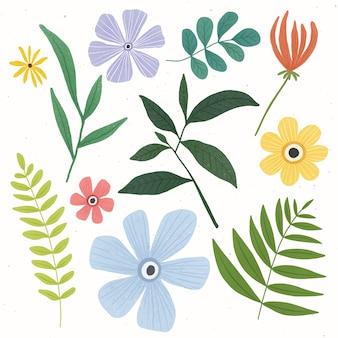 Colección colorida de flores y hojas