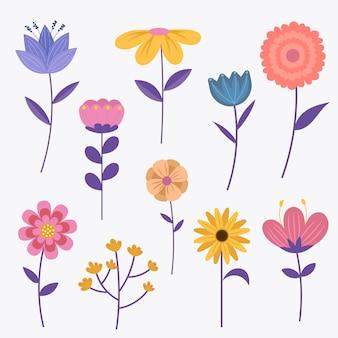 Colección colorida de flores de primavera