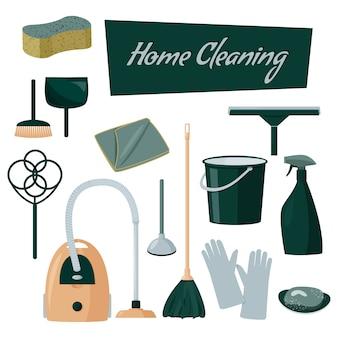 Colección colorida de herramientas de limpieza para el hogar.