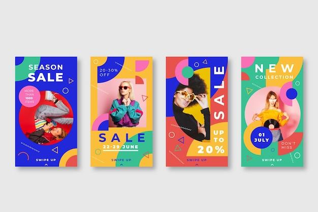 Colección colorida de historias de venta de instagram