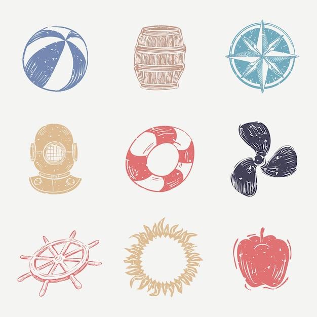 Colección colorida de iconos náuticos en linograbado