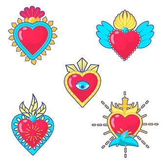 Colección colorida ilustrada del corazón sagrado