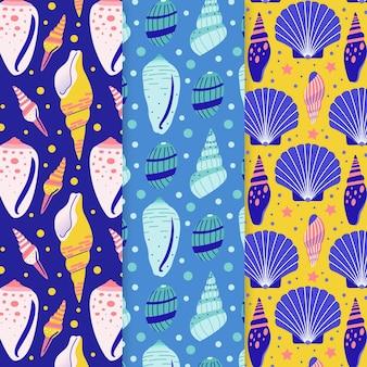 Colección colorida ilustrada de patrones de conchas marinas