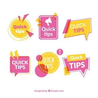 Colección colorida de insiginias de consejos rápidos