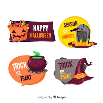 Colección colorida de insignias de halloween dibujadas a mano