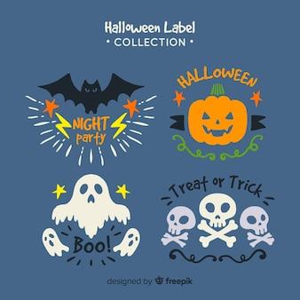 Colección colorida de insignias de halloween con diseño plano