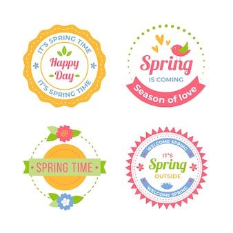 Colección colorida de insignias de primavera plana