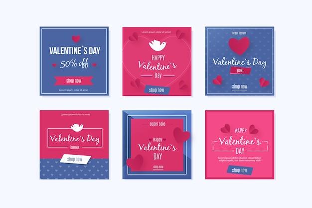 Colección colorida de instagram del día de san valentín