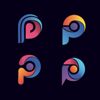 Colección colorida de logos degradados de letra p