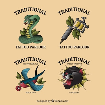 Colección colorida de logos para estudios de tatuajes de diseño plano