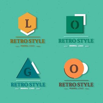 Colección colorida de logos minimalistas en estilo retro