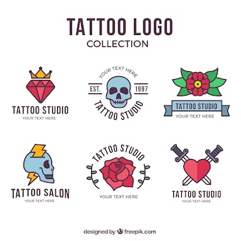 Colección colorida de logos de tatuajes con diseño plano