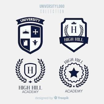 Colección colorida de logos de universidad con diseño plano