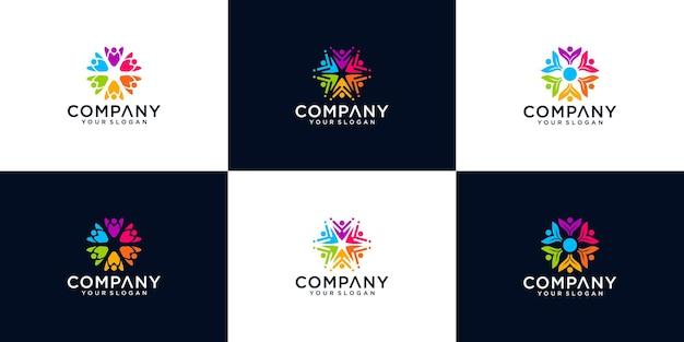Colección colorida de logotipos de personas creativas