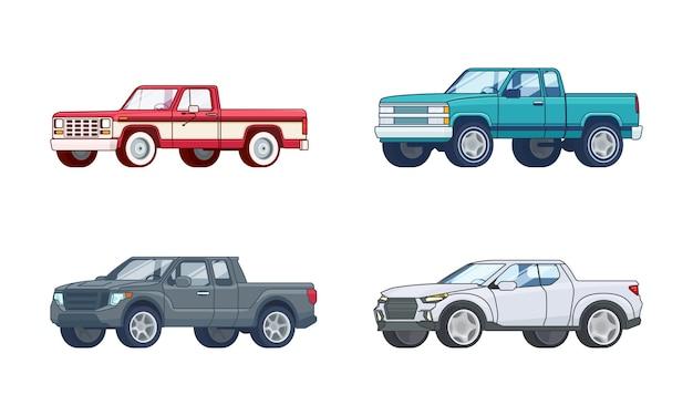 Colección colorida de modelos de camionetas pickup