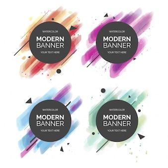 Colección colorida moderna de la bandera