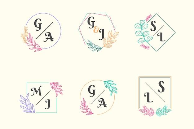Colección colorida de monogramas de bodas